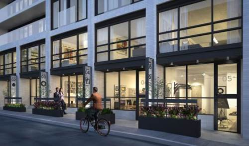 Street view of live-work units at DUKE Condos. Rendering courtesy of TAS.