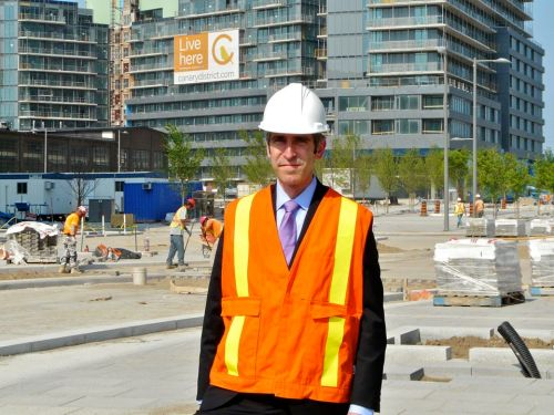 Kenneth Tanenbaum on the Canary District construction site, home to the Toronto 2015 Pan Am Athletes' Village