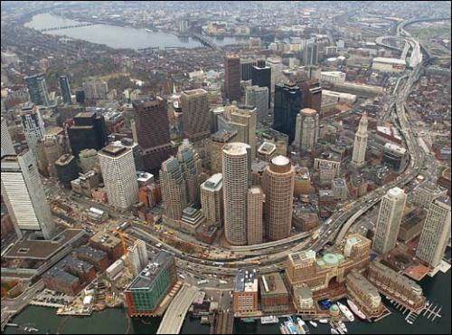 For 50 years, the Central Artery has sliced through the heart of downtown Boston. Photo courtesy of The Boston Globe.