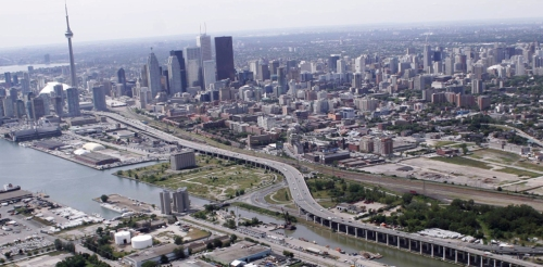 The Gardiner Expressway is downtown Toronto's main commuter artery, cutting an elevated swath through the core. Image courtesy of the City of Toronto.
