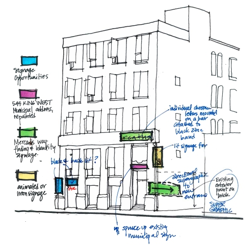 Sketch of proposed exterior graphics at 545 King St W, image courtesy of Quadrangle Architects