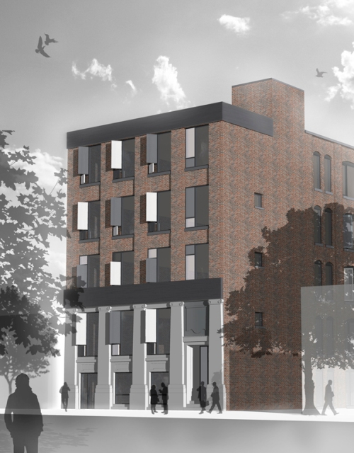 Rendering of updated north elevation at 545 King St W, image courtesy of Hullmark