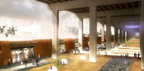 The Gardiner shelters a huge covered event space. Image by Patkau Architects.