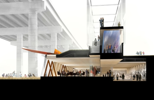 Cross-section through the Visitor Centre. Image courtesy of Patkau Architects.