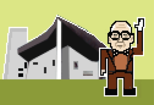 "In Archipixel, Babina pairs famous architects and their buildings and renders them as pixelated cartoons. Here, Le Corbusier and the chapel of Notre Dame du Haut in Ronchamp are distilled down to the most basic technology, like vintage video game characters. According to Babina, the idea of the project is to ""represent the complexity of the forms and personalities through the simplicity of the pixel."""