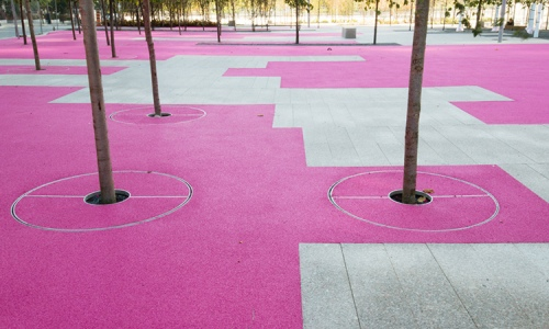 Ure-tech surfaces colour much of June Callwood Park. Photo by gh3.