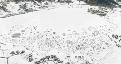 Sonja Hinrichsen. Snow Drawings at Catamount Lake, Colorado 2013