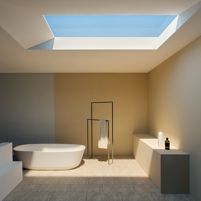 coelux turns a basement washroom into a passable alternative to a mediterranean spa - Basement Lighting Design