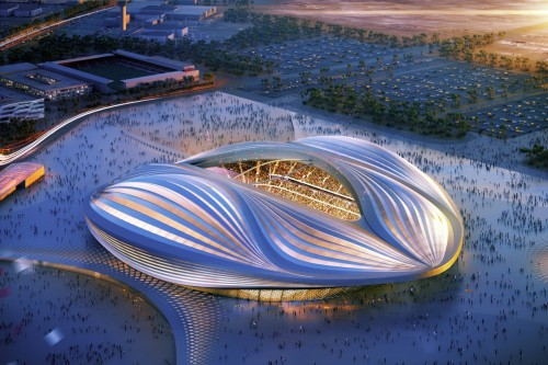 Hadid's design for the 2022 World Cup stadium in Qatar is currently under construction amid controversy concerning working conditions for labourers.